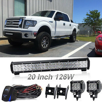 20in 126W Cree LED Work Light Bar Spot Flood Offroad Lamp 4WD Truck ATV UTE Jeep
