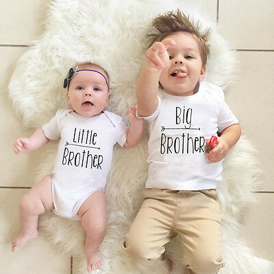 AU Infant Kids Baby Boys Little/Big Brother Romper Bodysuit T-shirt Tops Clothes