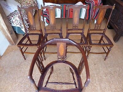 Inlaid, Solid Mahogany, Edwardian Dining Chairs x 5
