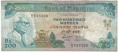 Mauritius 200 Rupees 1985 Pick 39 B Look Scans