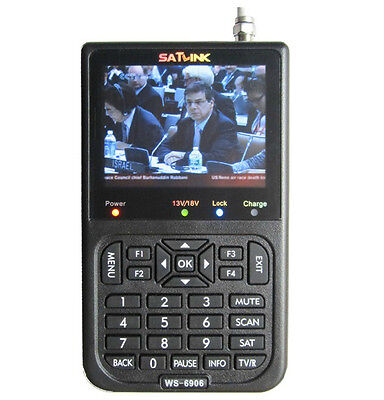 "SATLINK WS-6906 DVB-S FTA Satellite TV Receiver Signal Meter Finder 3.5""LCD QPSK"