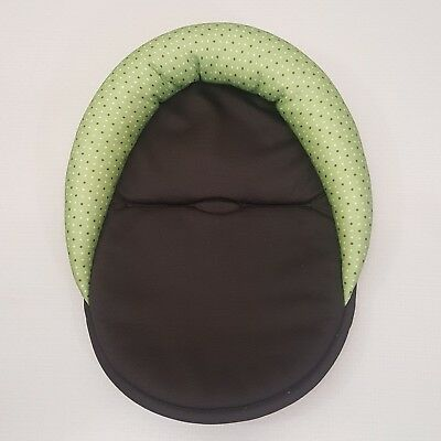 Infant Carseat Cushion Insert Green Brown Polka Dot Head Rest Support Neutral