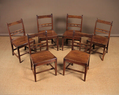 Antique Set of Six Welsh Cottage Dining Chairs c.1850.
