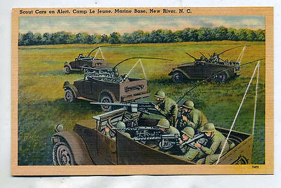 WWII Scout Car Marine Base Camp Lejeune NC Postcard