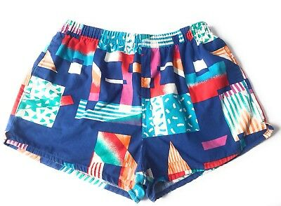 Vintage Members Only Mens Large Swim Trunks Bathing Suit Shorts Cotton Rainbow