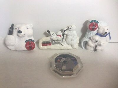 Coca Cola Refrigerator Magnets White Polar Bear edition set of 4 vintage fridge