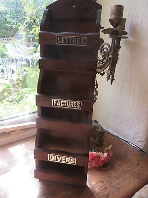 Quirky Vintage .french Wall Mounted Wooden Letter Rack With Little Key Hooks