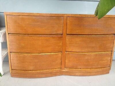 antique Vintage 6 drawer  Art deco Mid century Modern oak dresser