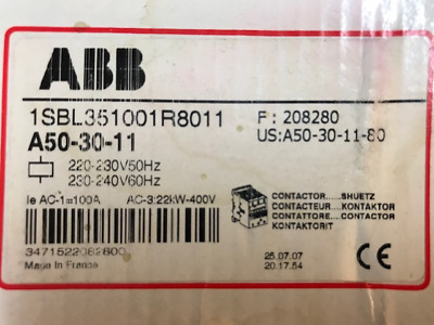 ABB 3-Pole Contactor A50-30-11 (NEW)  Made in France.