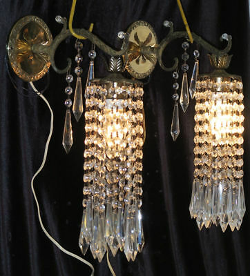 2 Vintage Sconces French Brass bronze fountain waterfall Crystal bedroom lamps