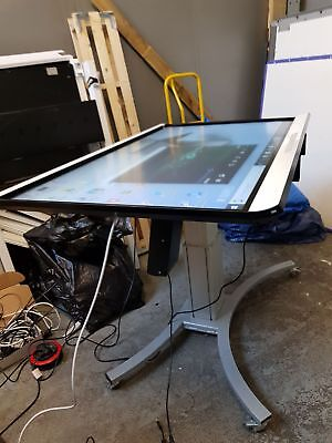 Interactive touchscreen multi position motorized floor stand
