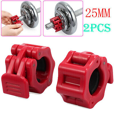 2X Olympic 1'' 25mm Spinlock Collars Barbell Dumbell Clips Clamp Weight Bar Lock