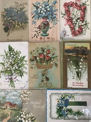 Nice Lot of 8 Vintage Greetings Postcards with Lily of the Valley Flowers-h243
