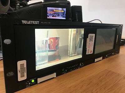 Teletest OZR2700 dual lcd rackmount monitors SDI and composite blackmagic