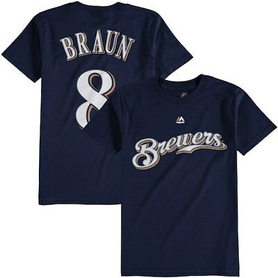 Ryan Braun Milwaukee Brewers Majestic Youth Player Name & Number T-Shirt - Navy