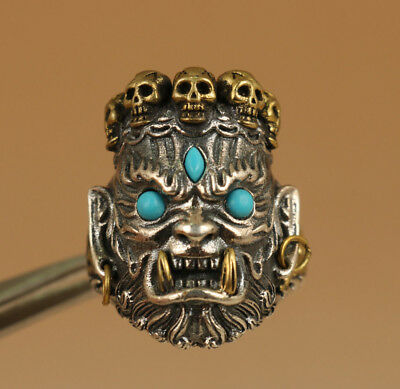 Antique chinese 925 Fine Silver hand carving Devil Demon Turquoise statue Ring