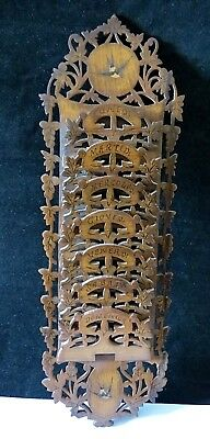 Rare Inlaid Fretted Olivewood Sorrento Ware Letter Paper Card Rack