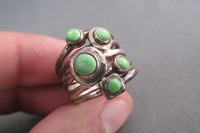 Vintage Old Pawn Sterling Green Cabochon Turquoise Multi Band Ring