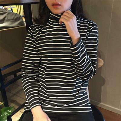 Striped Turtleneck Top Long Sleeve T Shirt Black White H