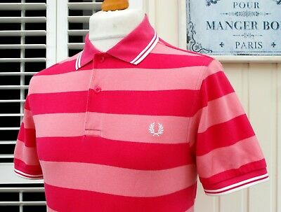 Fred Perry Pink Colour Block Striped Pique Polo - S/M - Ska Mod Casuals Scooter