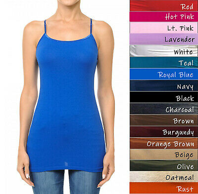 Long Tank Top Adjustable Spaghetti Bra Strap Layering Plain Cami  S/M/L