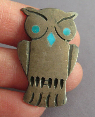 Vintage Old Pawn Sterling Figural Sand Cast Owl Turquoise Inlay Brooch Pin