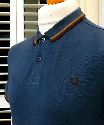 Fred Perry m3600 Carbon Twin Tipped Pique Polo - L - Ska Mod Scooter Workwear