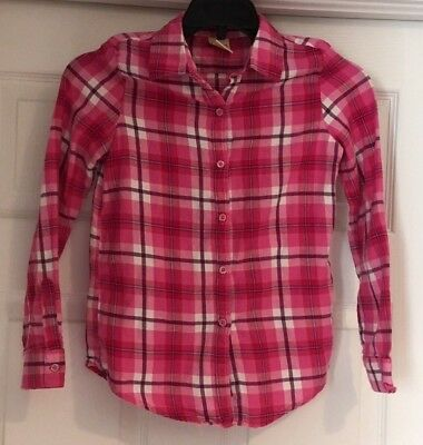 Faded Glory Girls Long Sleeve Button Down Plaid Shirt Size 7/8 Pink Purple White