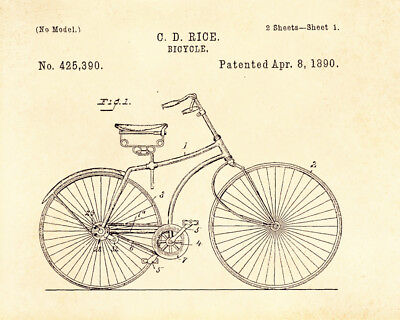 Decoration POSTER print.Vintage Patent.Bicycle.Bike.Home Room interior wall.6758
