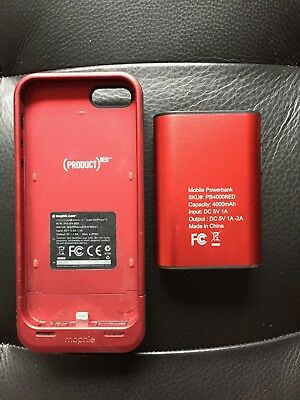 FOR PARTS ONLY Red MOPHIE Pack Charger Phone Case iPhone 5 + Gear Head Powerbank