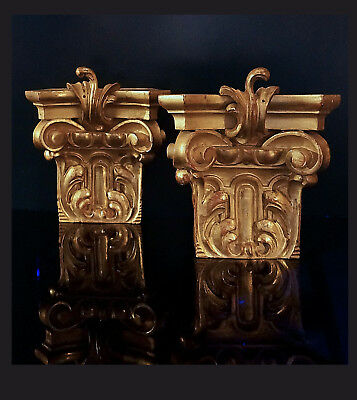 A Pair Of German 19TH C.Wood Carved And Gilded Capitols, 25,0 CM H. 8,0 CM D.