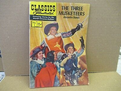 CLASSICS ILLUSTRATED #1 HRN 143 THE THREE MUSKETEERS by Dumas  GILBERTON