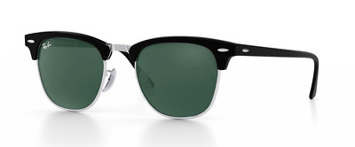 Ray-Ban CLUBMASTER : BLACK & SILVER Sunglass NEW, RB3016, RB USA : MSRP $153.00