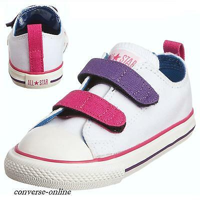 KIDS Baby Boys Girl CONVERSE All Star WHITE STRAP 3V Trainers Shoes SIZE 18 UK 2