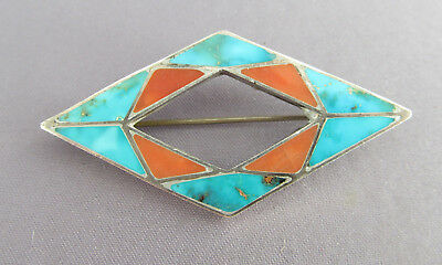 Vintage Old Pawn Zuni Diamond Shape Inlay Bisbee Turquoise & Coral Brooch Pin