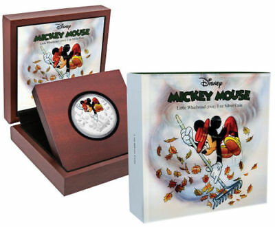 2017 Niue $2 Disney Mickey Mouse Little Whirlwind 1 Oz. Colorized Silver Proof