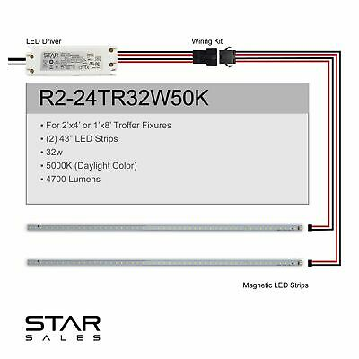 32w 2'x4' 5000K Magnetic LED Fluorescent T8 T12 Troffer Retrofit Kit DLC Rebate!