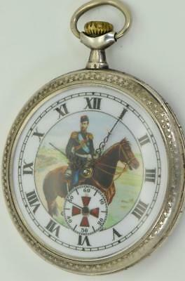 Extremely rare Imperial Russian officer award silver&Niello Omega pocket watch