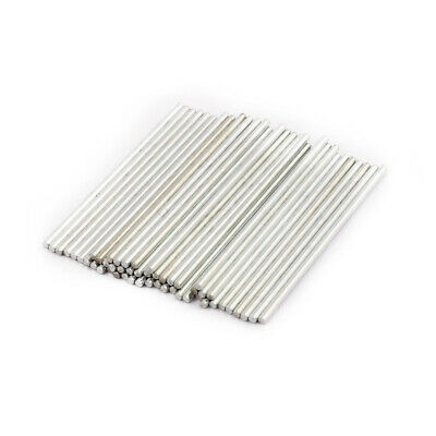 50Pcs Round Shaft Solid Durable Steel Rods Axles 2mm x 60mm Silver Tone