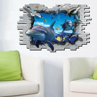 Wall Sticker 3D Dolphin Ocean Art Decal Living Room Wallpaper Kids Bedroom  Decor