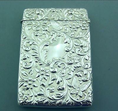 Excellent Victorian  Ornate Solid Sterling Silver Card Case