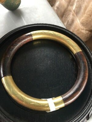 Antique Chinese Gilt Silver Bronze Or Brass  Floral Wood Bangle Bracelet