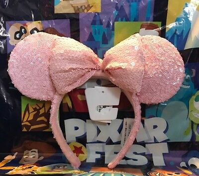 NEW 2018 Disneyland Disney Parks Millenial Pink Sequin Bow Minnie Ears