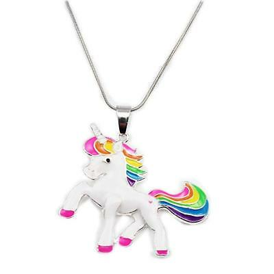 Rainbow Unicorn Necklace For Little Girls Jewelry Kids First Birthday Gifts