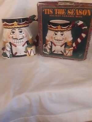 """Tis' The Season"" 3D Holiday Ceramic Nutcracker Cup Mug 18 Oz. New in Box"