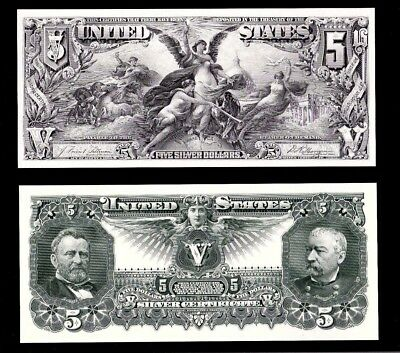 2 Proof Prints or Intaglios by BEP Face & Back of 1896 $5 Educational Notes