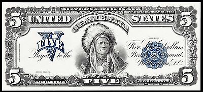 Proof Print or Intaglio by  BEP  Face of 1899 $5 Silver Cert Indian Chief