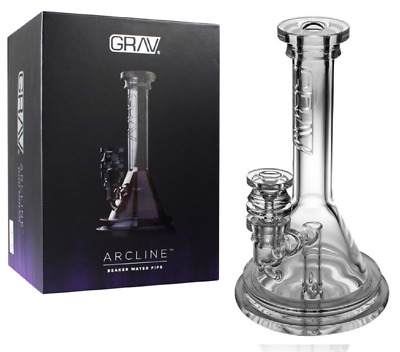 "Grav Labs Arcline 8"" Beaker 14mm Bowl Flame Polished Glass Pipe * 100% Authentic"