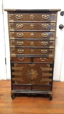 Vintage Korean Apothecary Chest over Cabinet with Decorative Detailed Hardware
