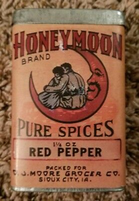 Vintage Honeymoon Red Pepper Spice Tin Sioux City Iowa reproduction